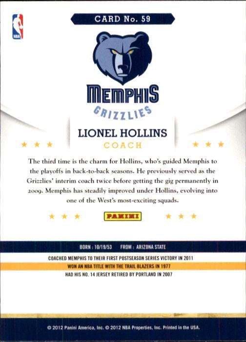 2012-13 Hoops #59 Lionel Hollins CO back image