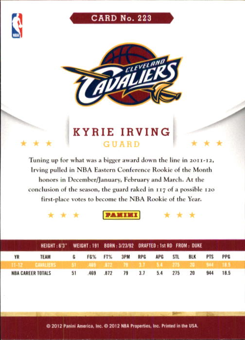 2012-13 Hoops #223 Kyrie Irving RC back image
