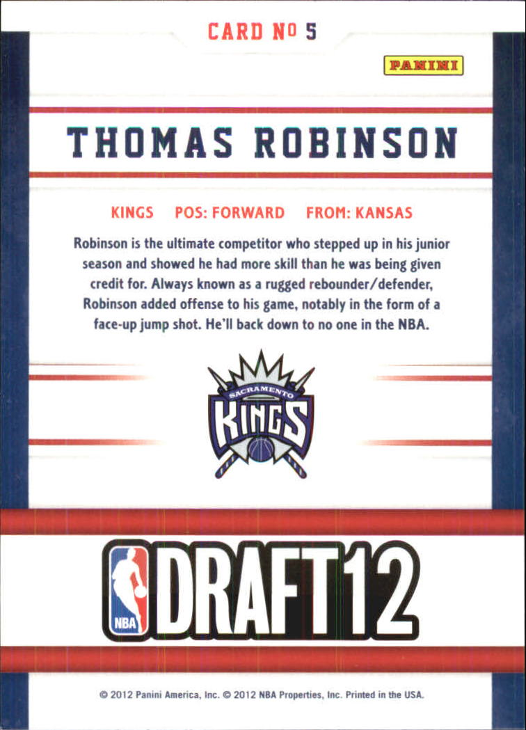 2012-13 Hoops Draft Night #5 Thomas Robinson back image