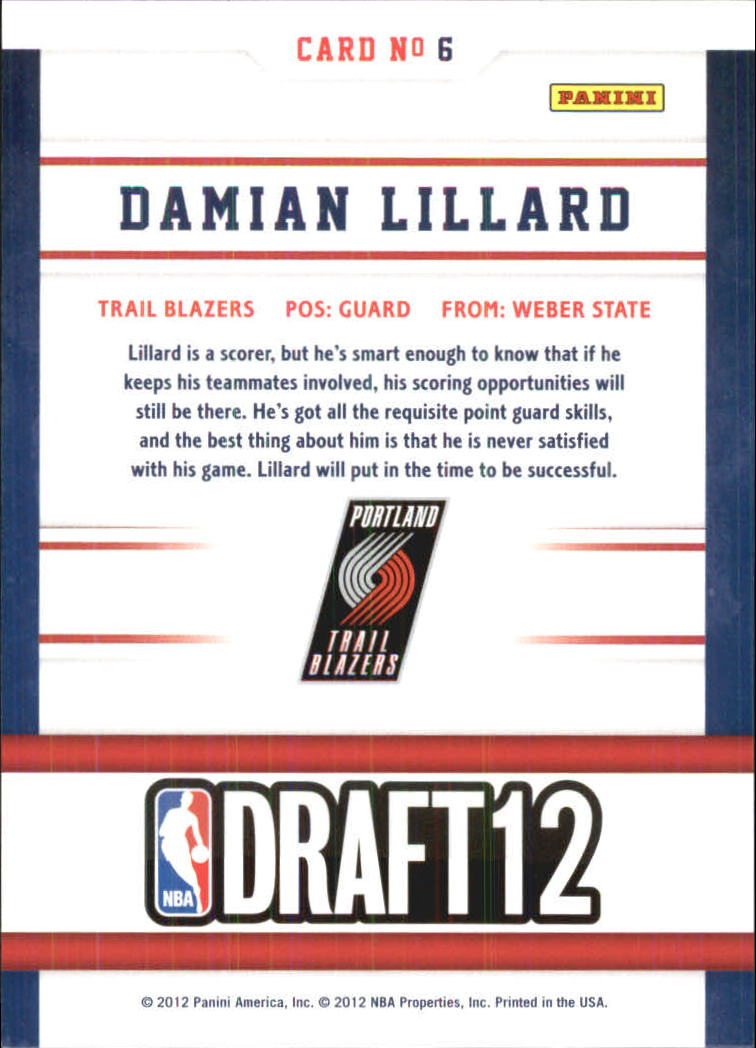 2012-13 Hoops Draft Night #6 Damian Lillard back image