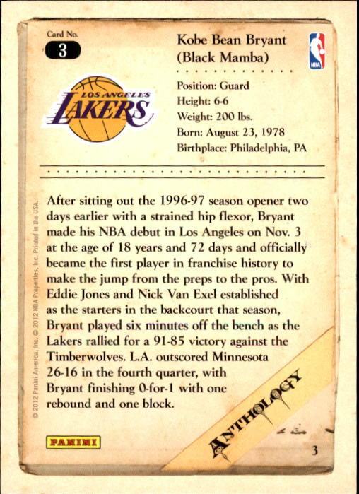 2012-13 Panini Kobe Anthology #3 Kobe Bryant back image