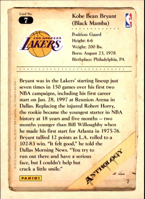 2012-13 Panini Kobe Anthology #7 Kobe Bryant back image