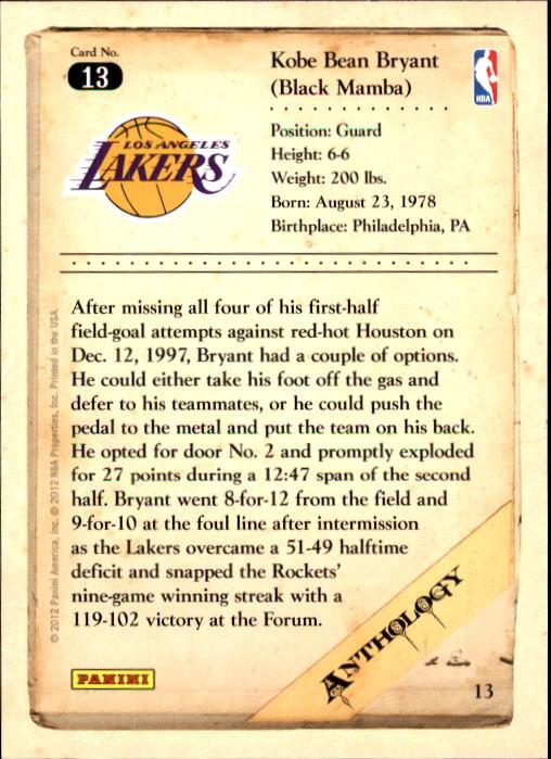 2012-13 Panini Kobe Anthology #13 Kobe Bryant back image