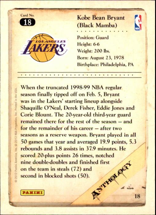 2012-13 Panini Kobe Anthology #18 Kobe Bryant back image