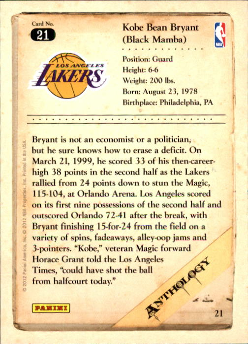 2012-13 Panini Kobe Anthology #21 Kobe Bryant back image