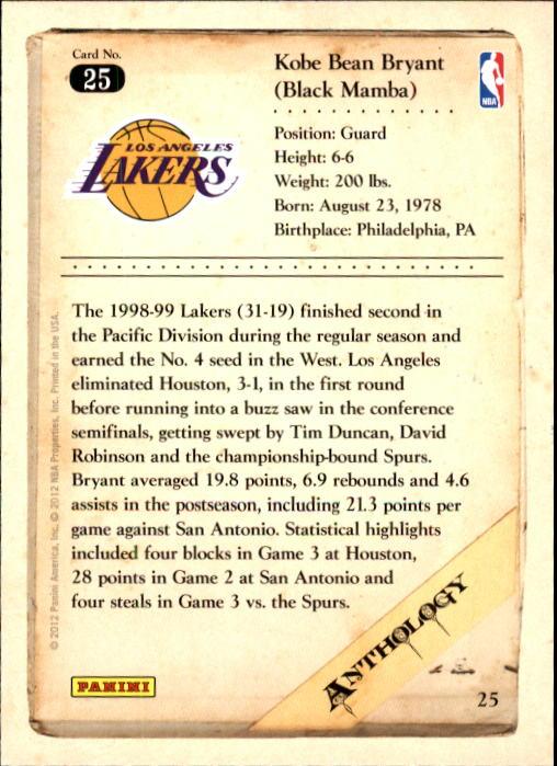2012-13 Panini Kobe Anthology #25 Kobe Bryant back image