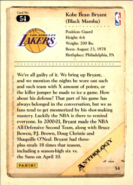 2012-13 Panini Kobe Anthology #54 Kobe Bryant back image