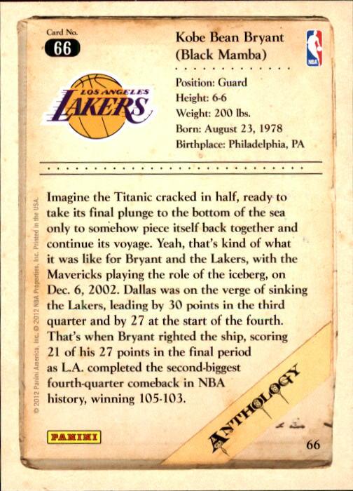 2012-13 Panini Kobe Anthology #66 Kobe Bryant back image