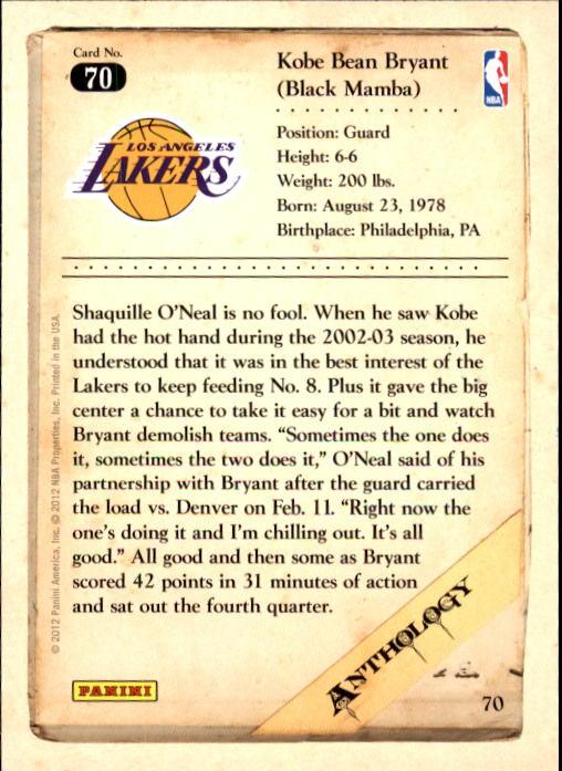 2012-13 Panini Kobe Anthology #70 Kobe Bryant back image