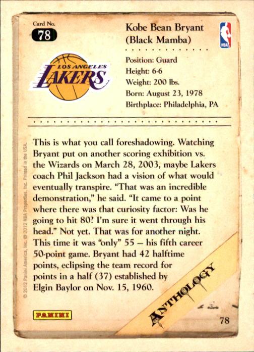 2012-13 Panini Kobe Anthology #78 Kobe Bryant back image