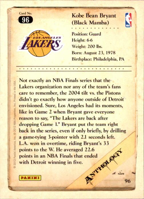 2012-13 Panini Kobe Anthology #96 Kobe Bryant back image