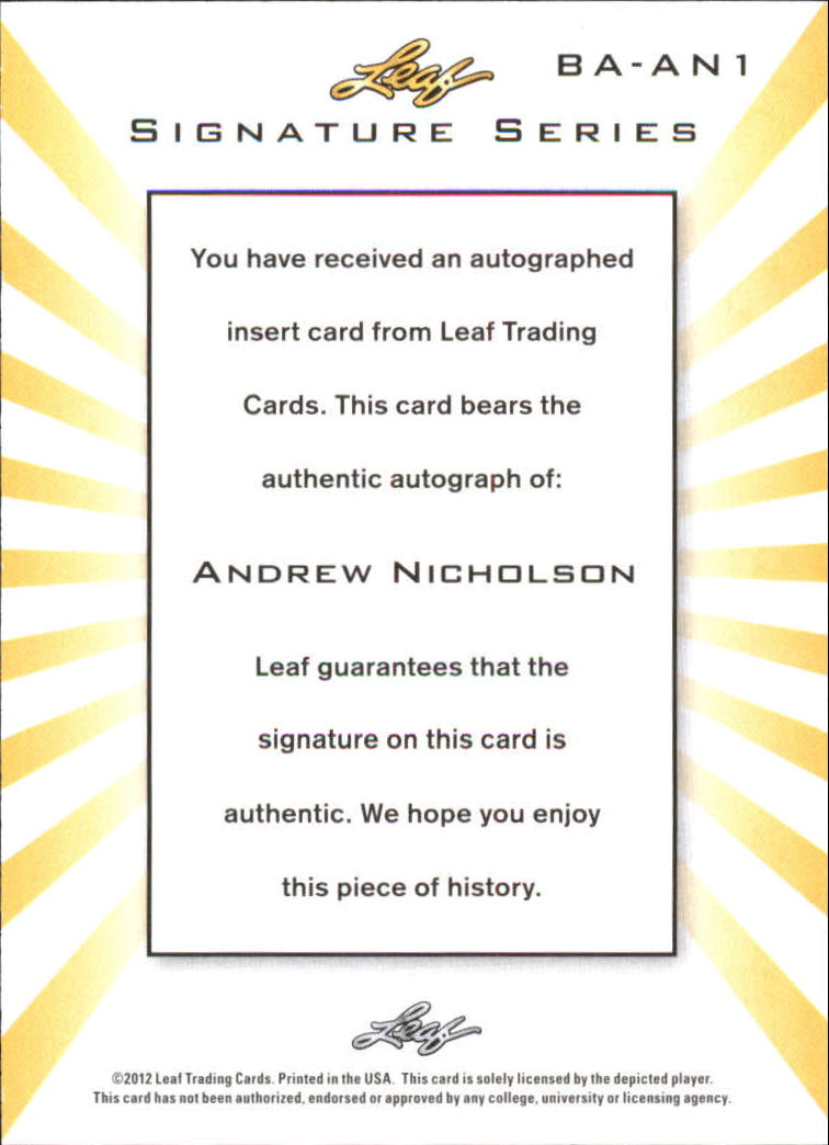 2012-13 Leaf Signature #AN1 Andrew Nicholson back image