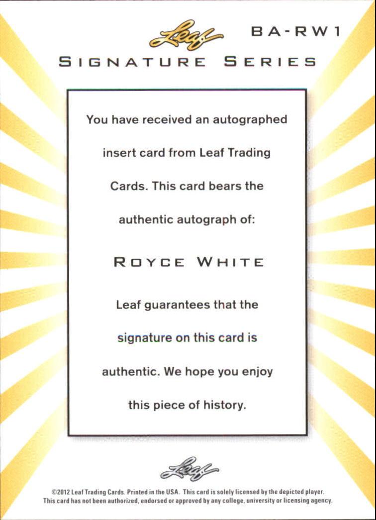 2012-13 Leaf Signature #RW1 Royce White back image