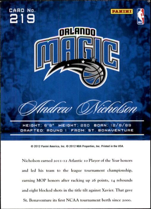 2012-13 Prestige #219 Andrew Nicholson RC back image