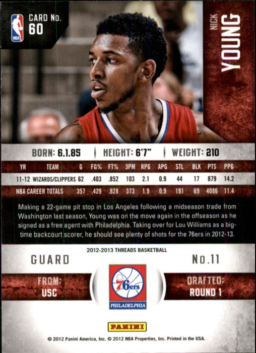 2012-13 Panini Threads #60 Nick Young back image