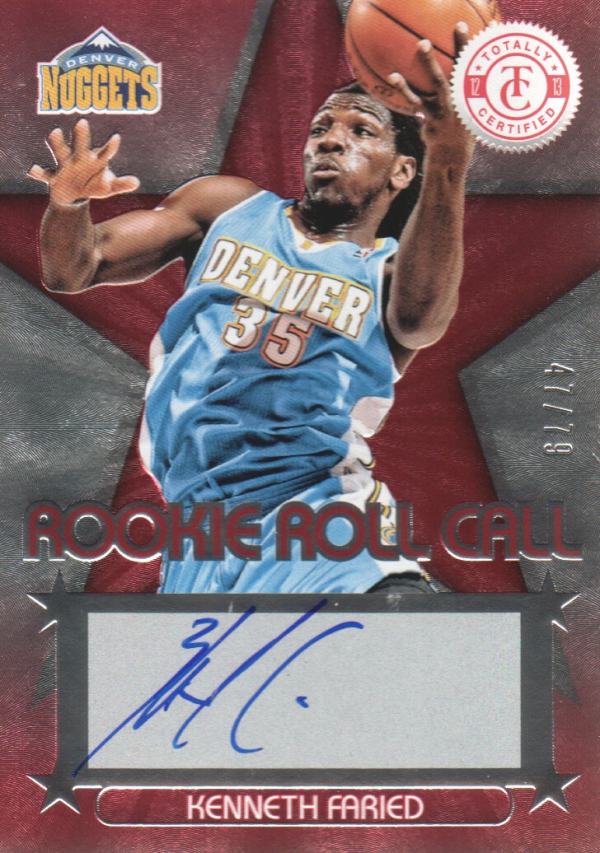 2012-13 Totally Certified Rookie Roll Call Autographs Red #9 Kenneth Faried/79
