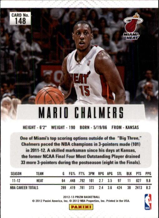 2012-13 Panini Prizm #148 Mario Chalmers back image