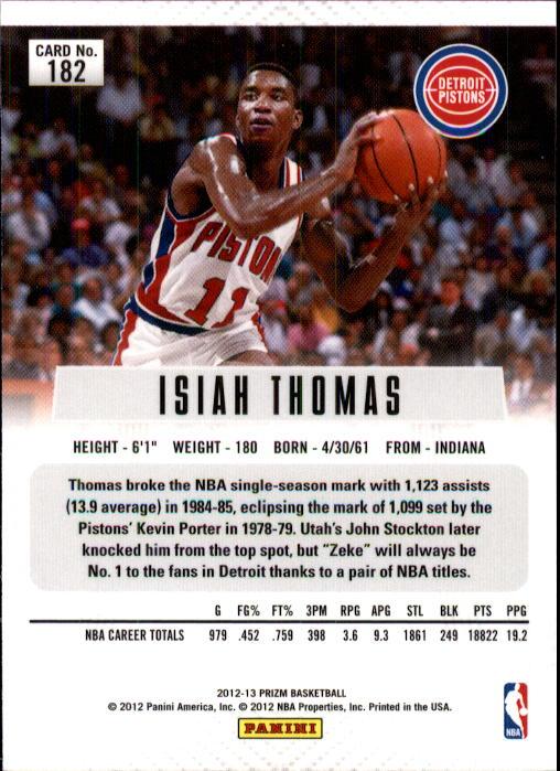 2012-13 Panini Prizm #182 Isiah Thomas back image
