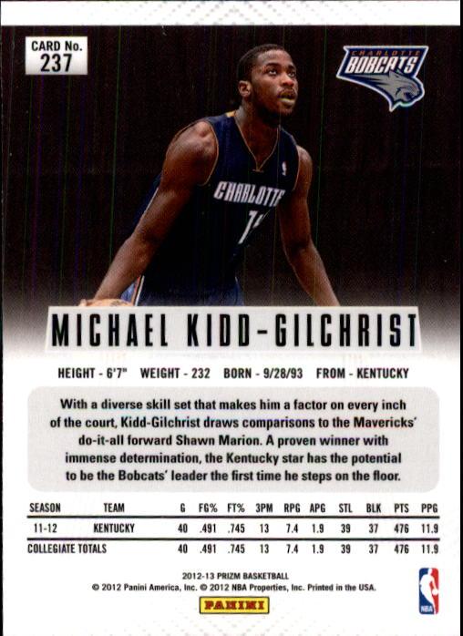 2012-13 Panini Prizm #237 Michael Kidd-Gilchrist RC back image