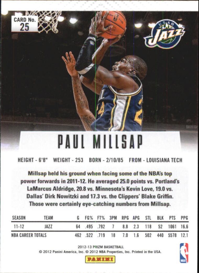2012-13 Panini Prizm Prizms Green #25 Paul Millsap back image