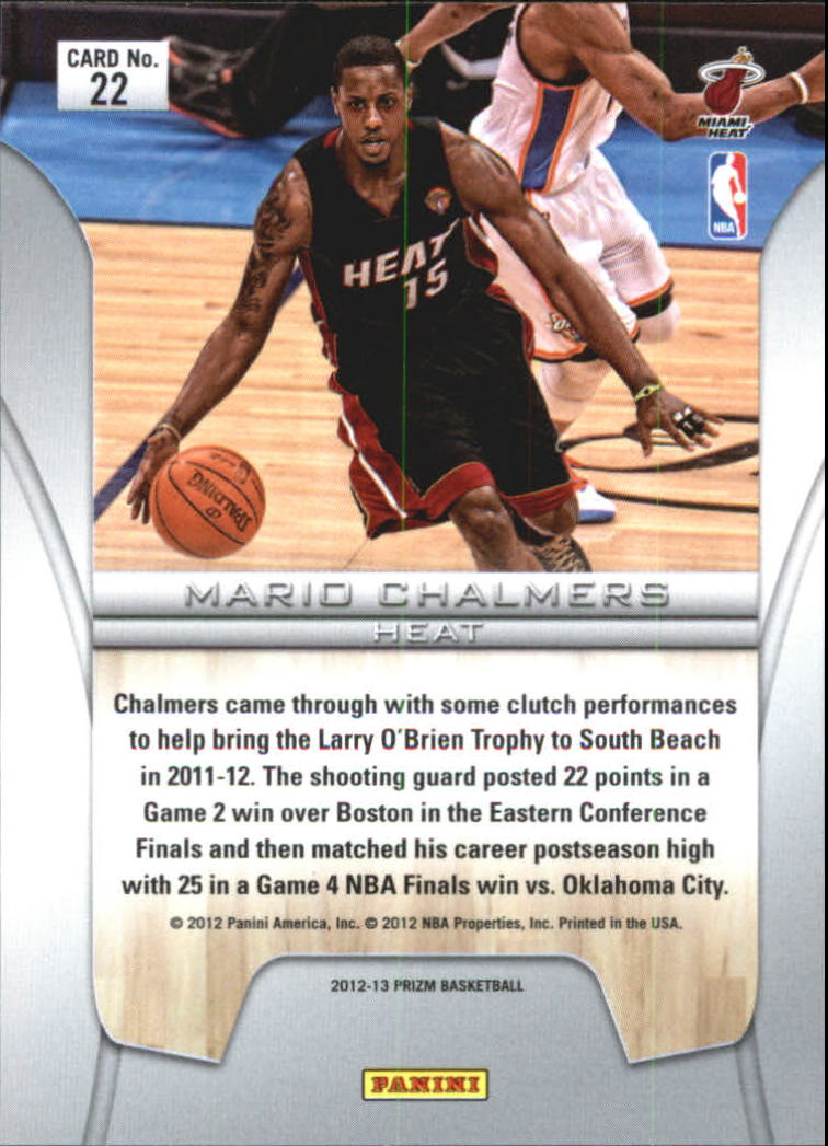 2012-13 Panini Prizm Finalists #22 Mario Chalmers back image