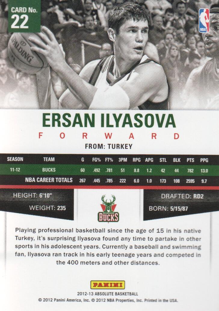 2012-13 Absolute #22 Ersan Ilyasova back image