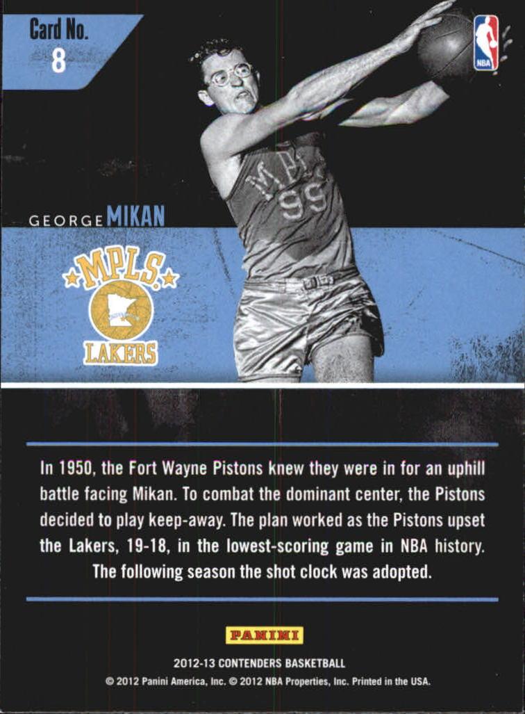 2012-13 Panini Contenders Legendary Contenders #8 George Mikan back image