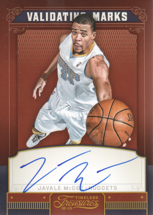 2012-13 Timeless Treasures Validating Marks Autographs #11 JaVale McGee/99 EXCH