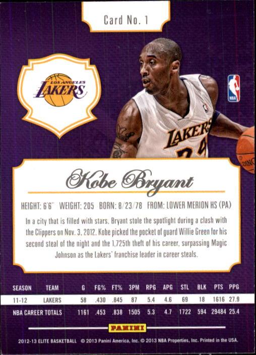 2012-13 Elite #1 Kobe Bryant back image
