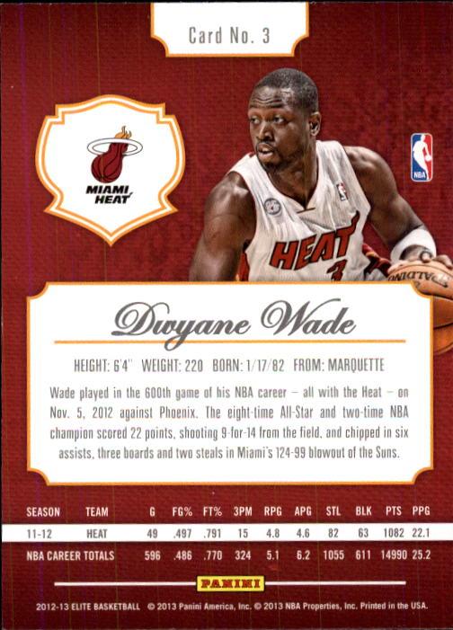 2012-13 Elite #3 Dwyane Wade back image