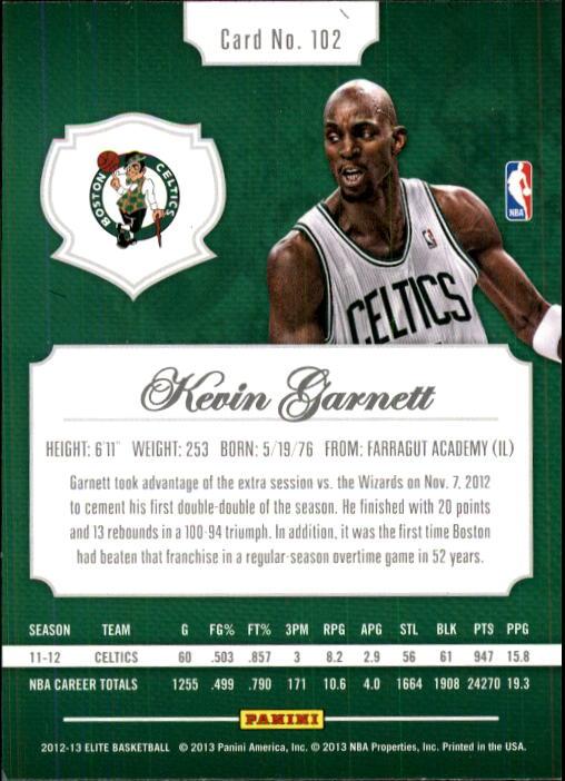 2012-13 Elite #102 Kevin Garnett back image