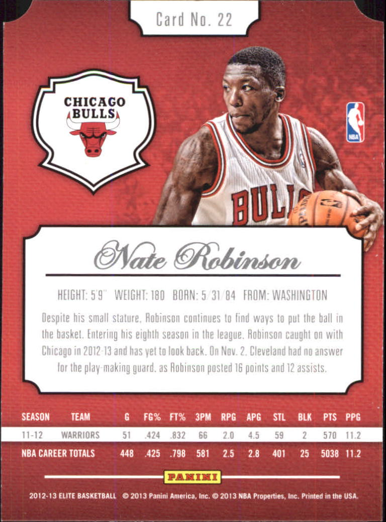 47d7933d0a6e 2012-13 Elite Aspirations Chicago Bulls Basketball Card  22 Nate Robinson 98