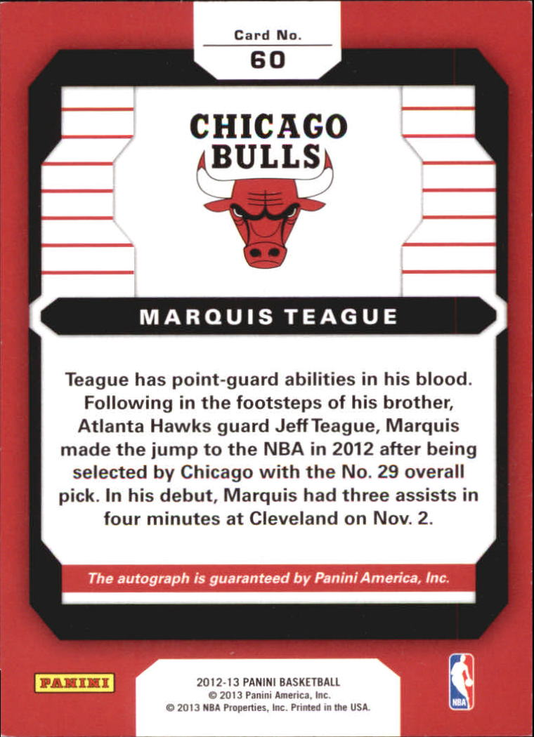 2012-13 Panini Rookie Signatures #60 Marquis Teague back image