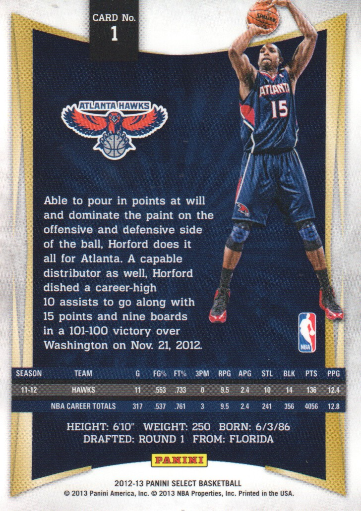 2012-13 Select #1 Al Horford back image