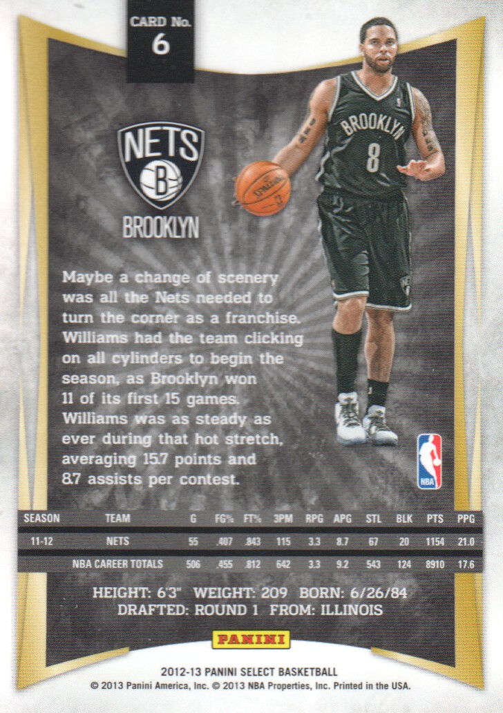 2012-13 Select #6 Deron Williams back image