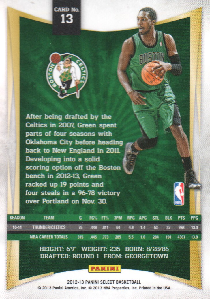 2012-13 Select #13 Jeff Green back image