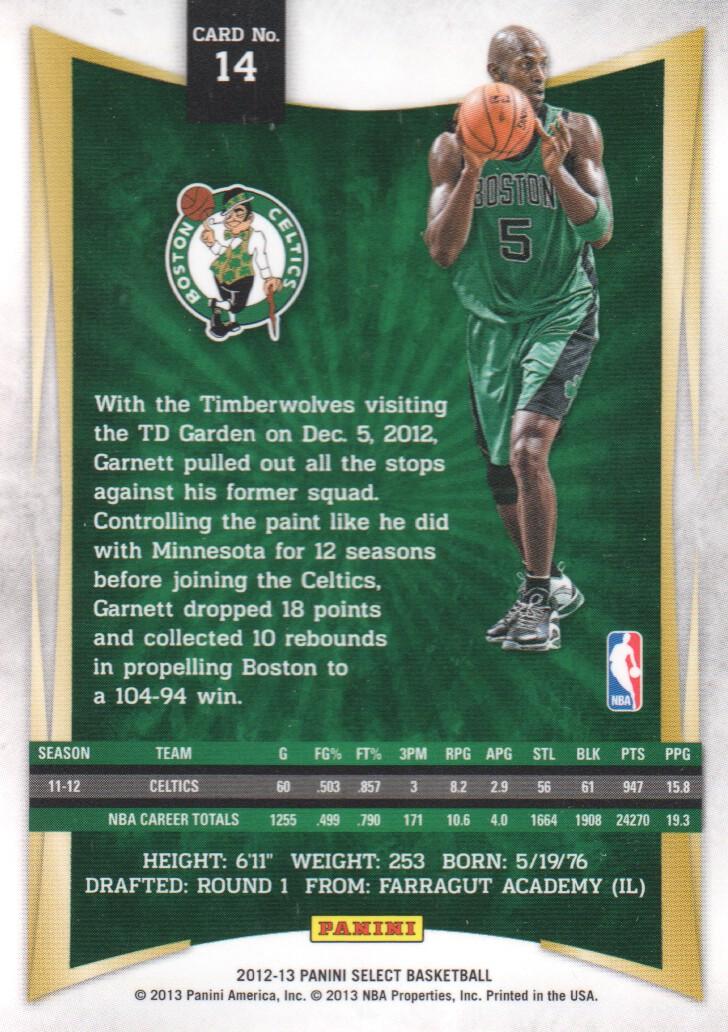 2012-13 Select #14 Kevin Garnett back image