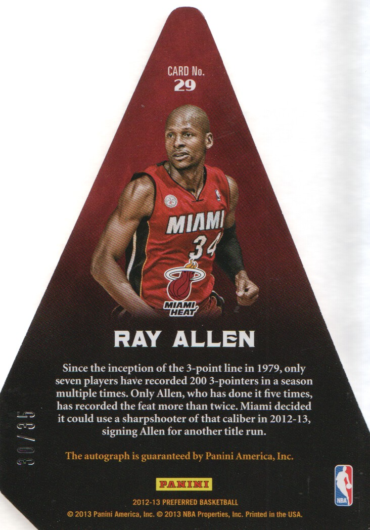 2012-13 Panini Preferred #29 Ray Allen PC AU/35 EXCH back image