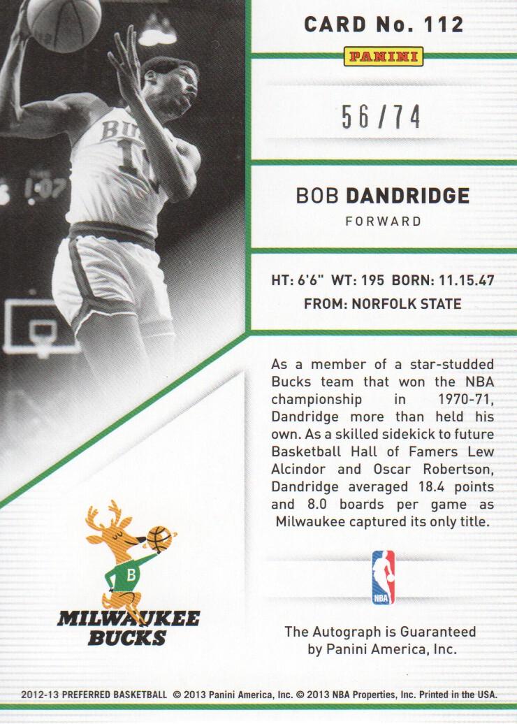 2012-13 Panini Preferred #112 Bob Dandridge PS AU/74 back image
