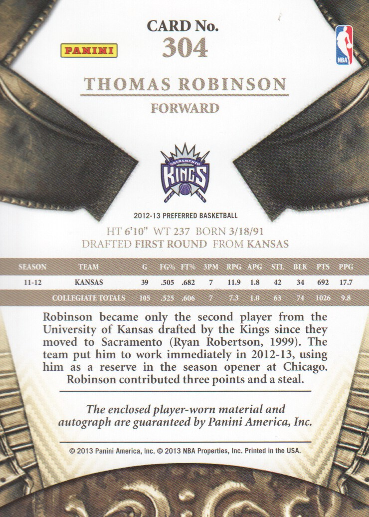 2012-13 Panini Preferred #304 Thomas Robinson SL JSY AU/99 back image