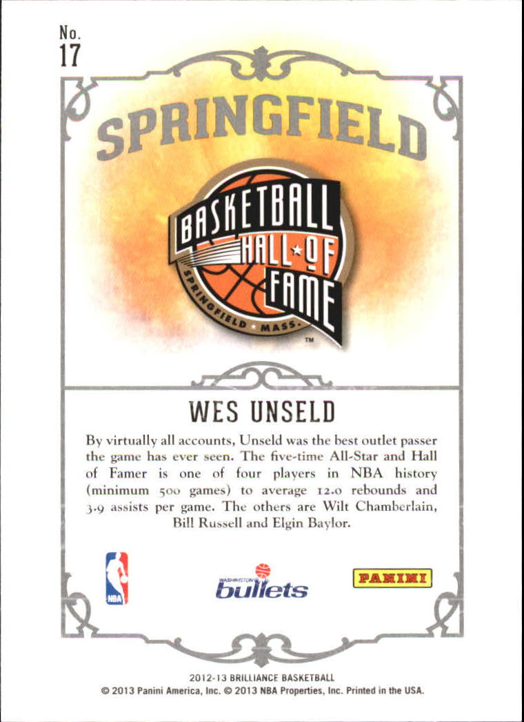 2012-13 Panini Brilliance Springfield #17 Wes Unseld back image