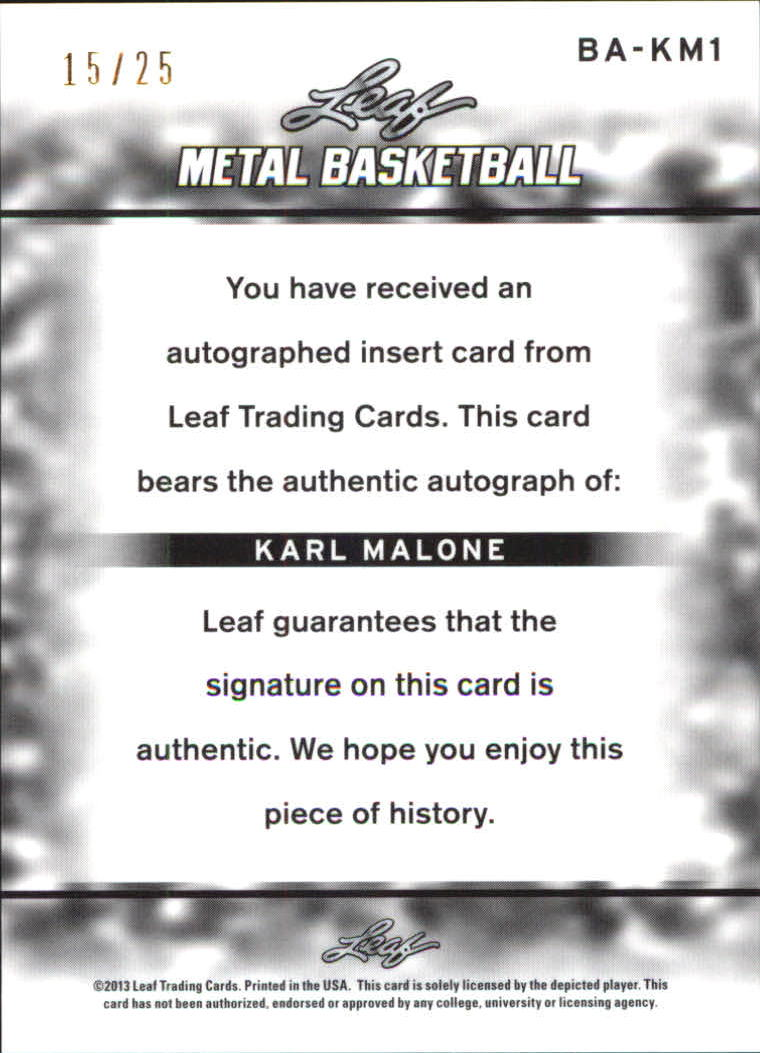 2012-13 Leaf Metal Holo Blue #BAKM1 Karl Malone back image