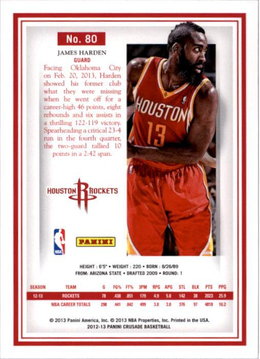 2012-13 Panini Crusade Houston Rockets Basketball Card  80 James ... ddb1c5b8e