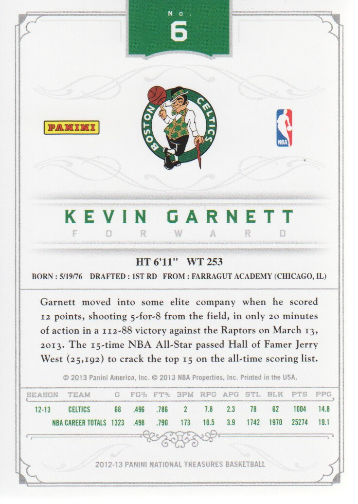 2012-13 Panini National Treasures #6 Kevin Garnett back image