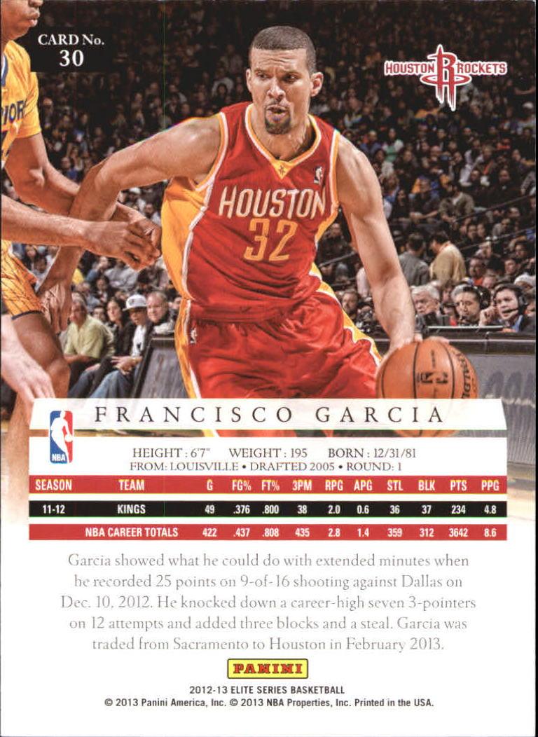 2012-13 Elite Series #30 Francisco Garcia back image
