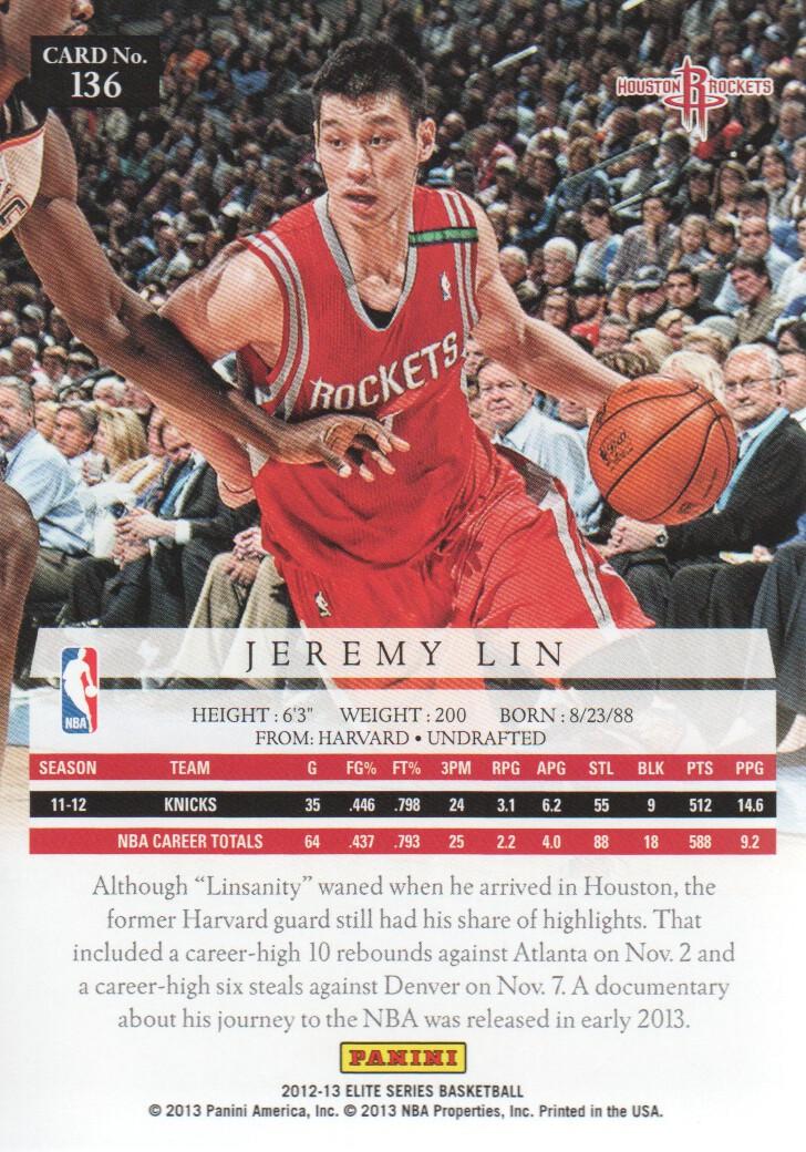 2012-13 Panini elite baloncesto Walker #119 Jeremy Lin