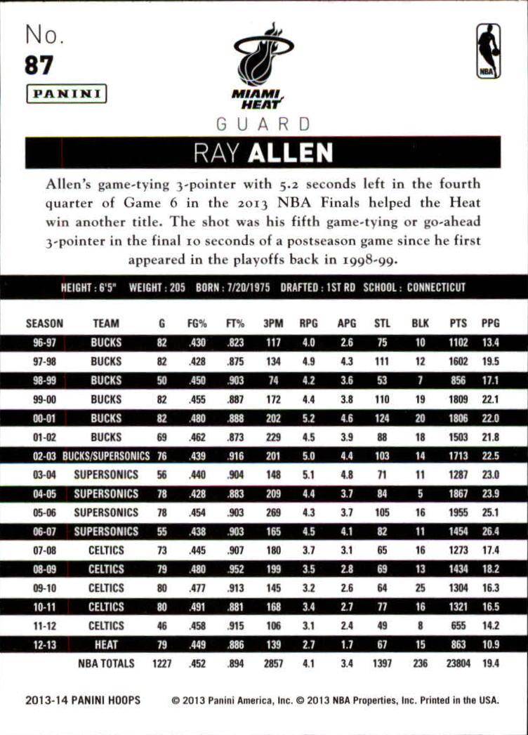 2013-14 Hoops #87 Ray Allen back image
