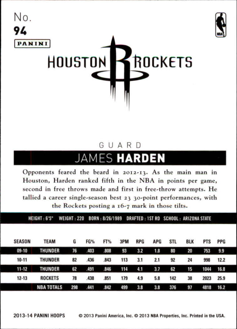 2013-14 Hoops #94 James Harden back image
