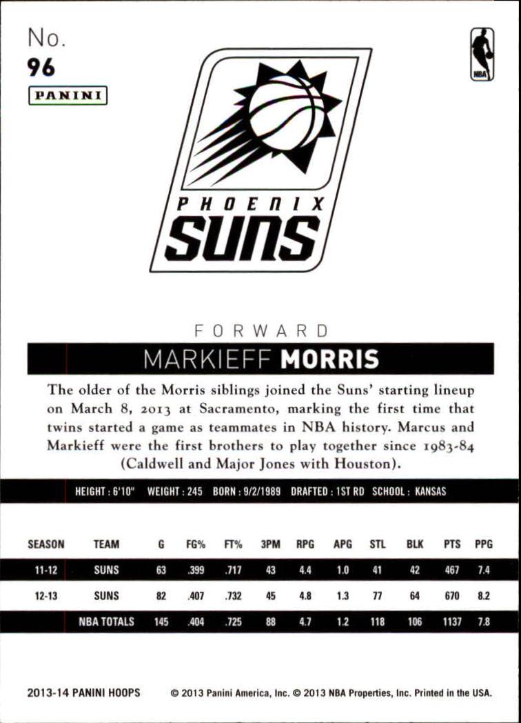 2013-14 Hoops #96 Markieff Morris back image