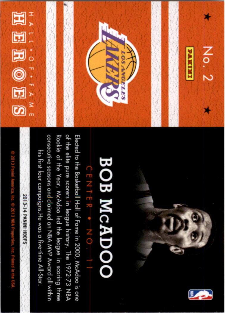 2013-14 Hoops Hall of Fame Heroes #2 Bob McAdoo back image